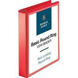 "Business Source Round Ring Binder, 1-1/2"" Capacity (09967)"