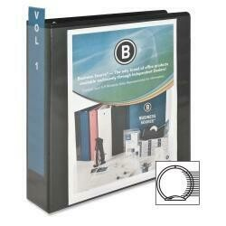 """Business Source Wholesale Case Of 25 - Bus. Source Round-Ring View Binders-View Binder, W/ 2 Inside Pockets, 2"""" Capacity, Black"""