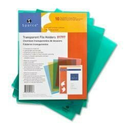 """Sparco Products : Transparent File Holders,Water Resistant,11""""X8-1/2"""",Green -:- Sold As 2 Packs Of - 10 - / - Total Of 20 Each"""