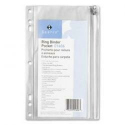 "Sparco Ring Binder Pocket,W/ Zipper,Vinyl,Hole Punched,9-1/2""X6"",Cl Qty:24"