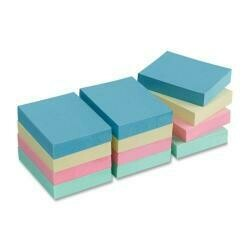 """Business Source Adhesive Notes,Plain,1-1/2""""X2"""",100 Sh/Pd,12Pd/Pk,Ast Pastel, Sold As 1 Package"""