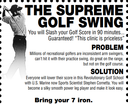 The Villages Tue July 20th 11AM Supreme Golf Swing 90 Min Class Bring a Friend Free and your 7 Iron-Arrive 20 Min Early