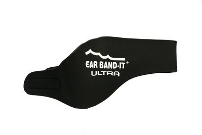Black size large Ear Band-It Ultra with pair of Floating Putty Buddies Ear Plugs