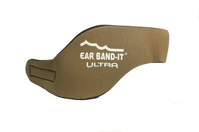Tan size large Ear Band-It Ultra with pair of Floating Putty Buddies Ear Plugs