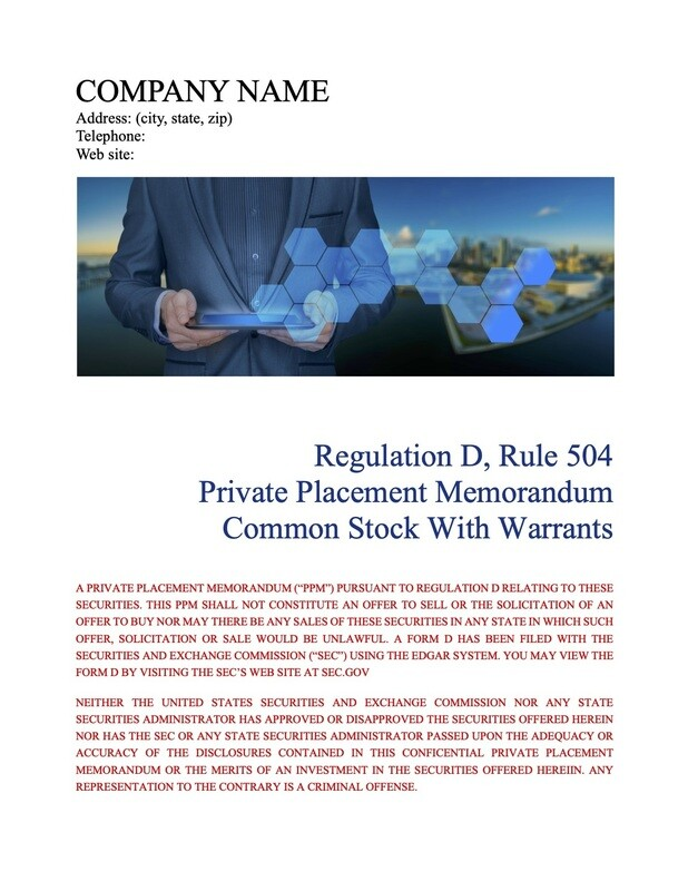Rule 504 Common Stock With Warrants