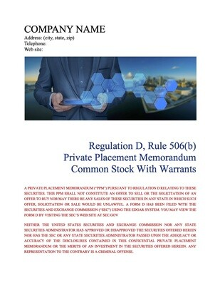Rule 506(b) Common Stock With Warrants