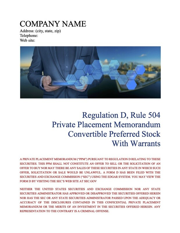 Rule 504 Convertible Preferred Stock With Warrants