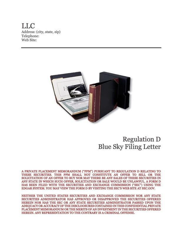 LLC Blue Sky Filing Letter