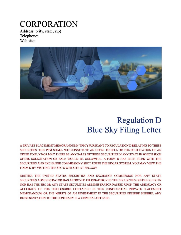 Corporation Blue Sky Filing Letter