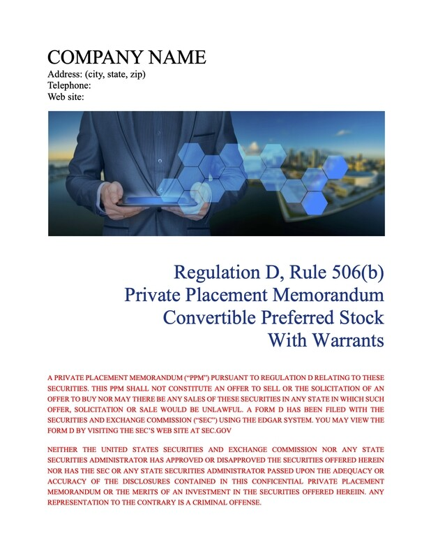 Rule 506(b) Convertible Preferred Stock With Warrants