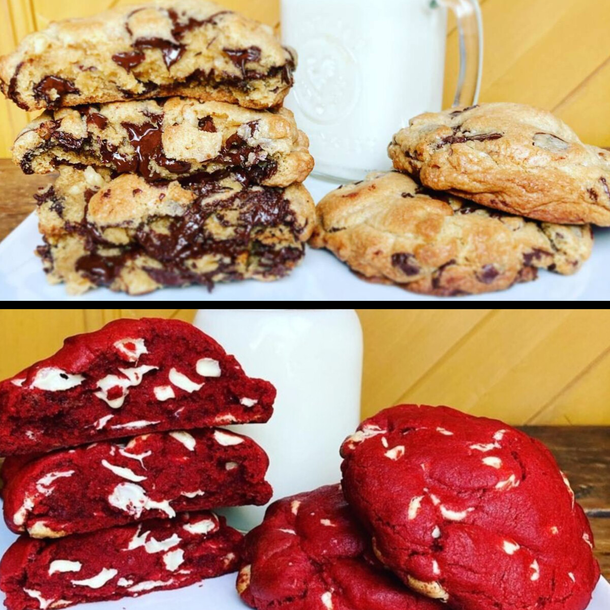"""3 So Extravagants Biscuits aux Brisures de Chocolat """" Style New York """" et 3 So Velvety Biscuits Red Velvet """" Style New York """" au chocolat blanc Belge."""