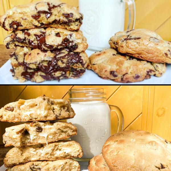 """3 So Extravagants Biscuits aux Brisures de Chocolat """" Style New York """" et 3 So Extravagants Biscuits aux Brisures de Chocolat Blanc """" Style New York """" au chocolat blanc Belge."""