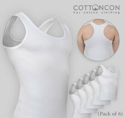 Men's UnderShirt, Super Soft Tank Top with 100% Original Cotton, Naturally Breathable Undershirt, Sweat Absorption, for Men (Pack of 6)