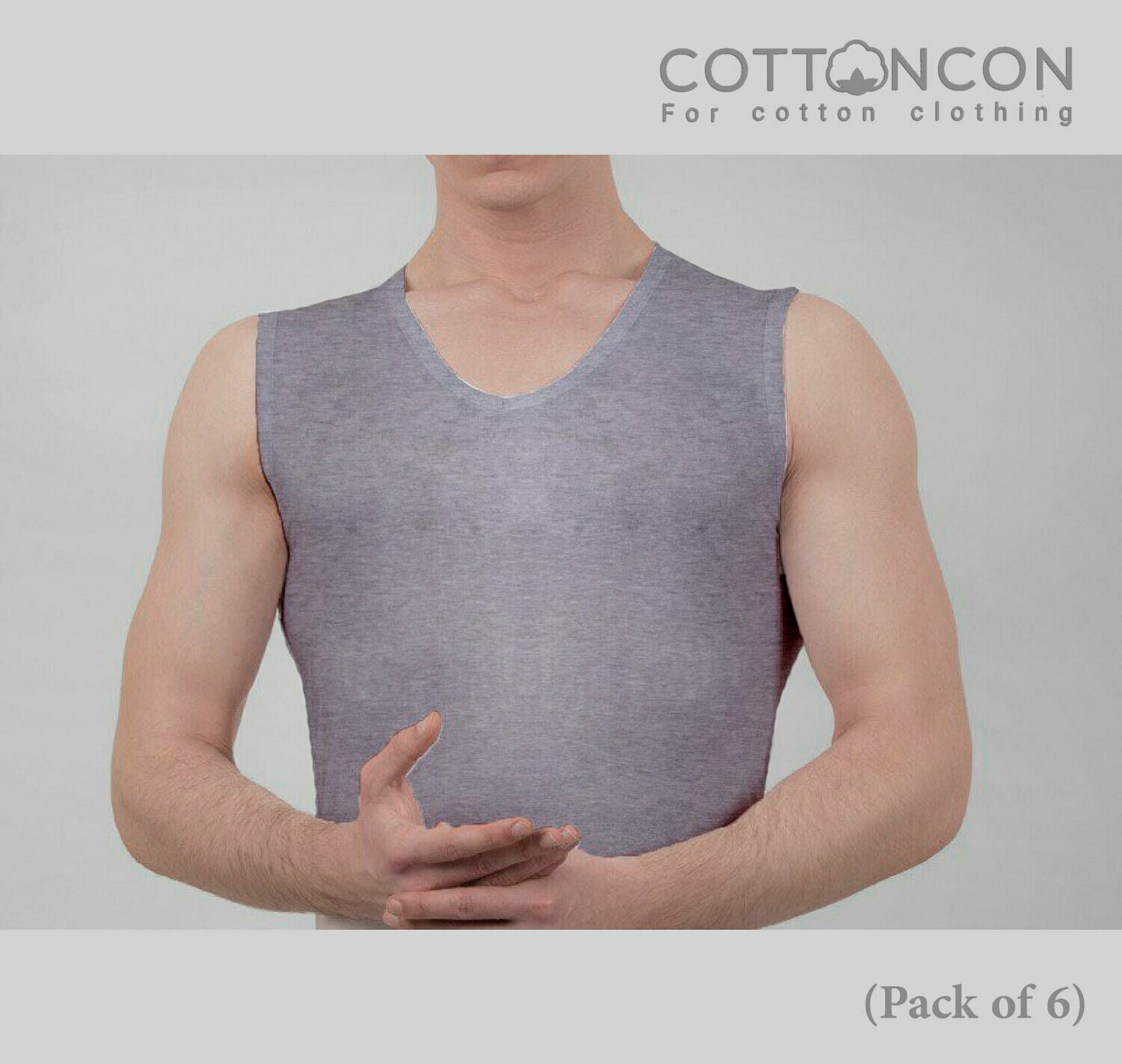 TankTop Underwear Shirt Grey, Super Soft Tank Top with 100% Original Cotton, Naturally Breathable Undershirt, Sweat Absorption, for Men (Pack of 6)