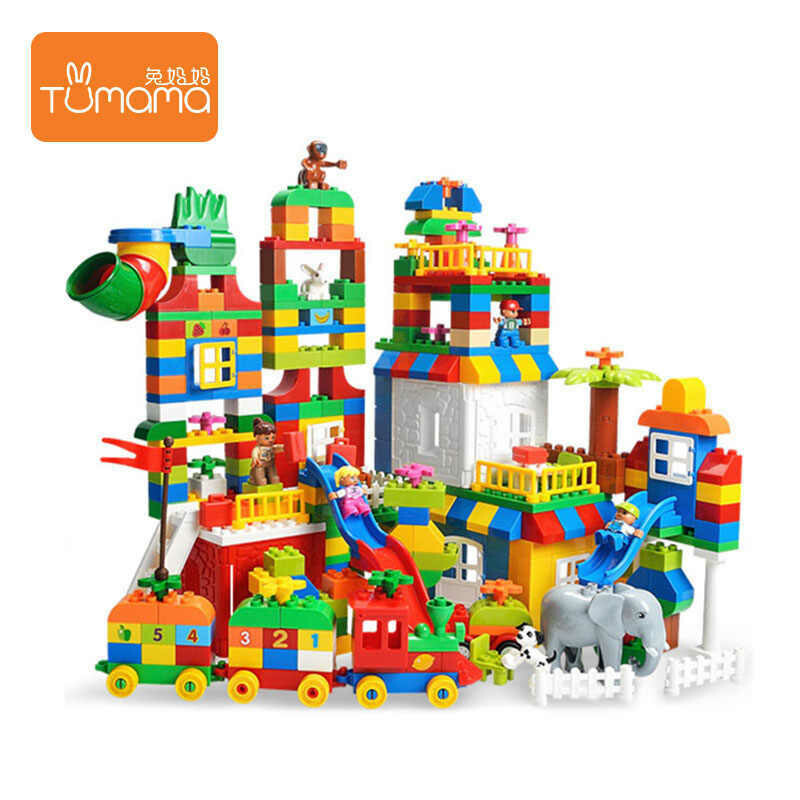 Educational colorful Intelligence park boxed 225 pcs kids interlocking big AB building block set