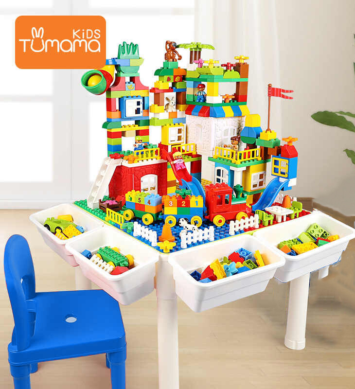 Big Size Building Block Table Multifunctional Children Desk Brick Toy Baseplate Desk With Chair