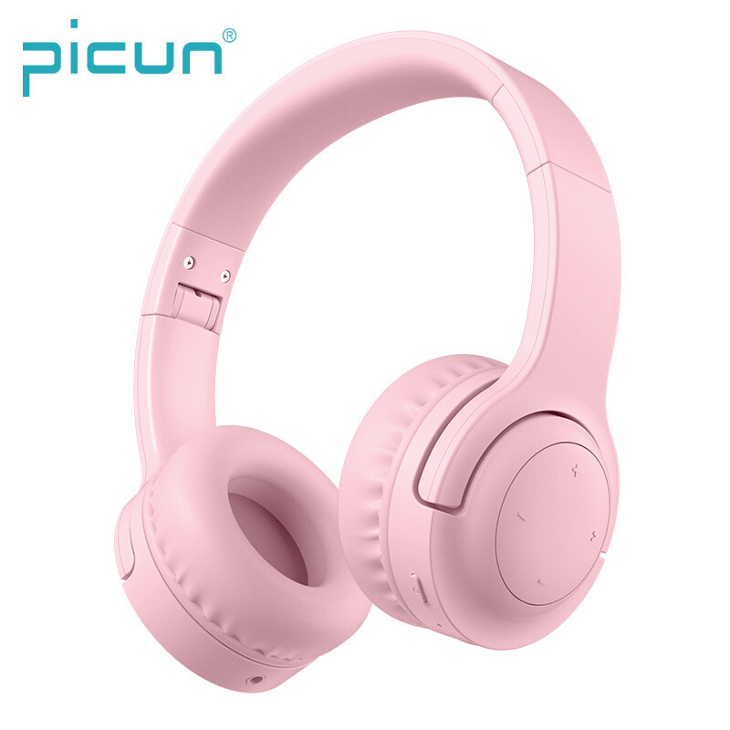 Picun E3 On-ear 93db Volume Limit Ear Protection Flexible Headband Wireless Bluetooth Headphone for Kids (Pink)
