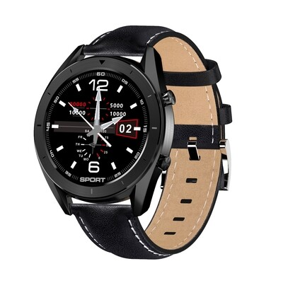 DT99 IP68 Waterproof Heart Rate Blood Pressure Monitor Unisex Smart Watch Leather