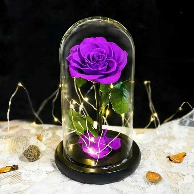 Eterfield Preserved Flower Rose in Glass Dome - Purple