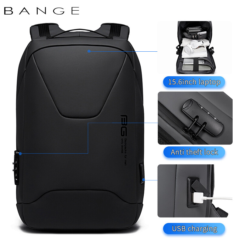 USB Backpack For Laptop multifunction High Quality USB Charging Waterproof Backpack - Black