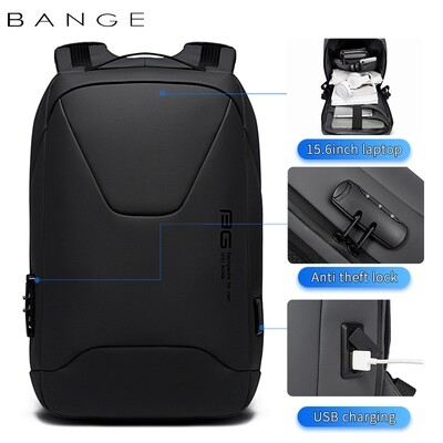 USB Backpack For Laptop multifunction High Quality USB Charging Waterproof Backpack Men Gift- Black