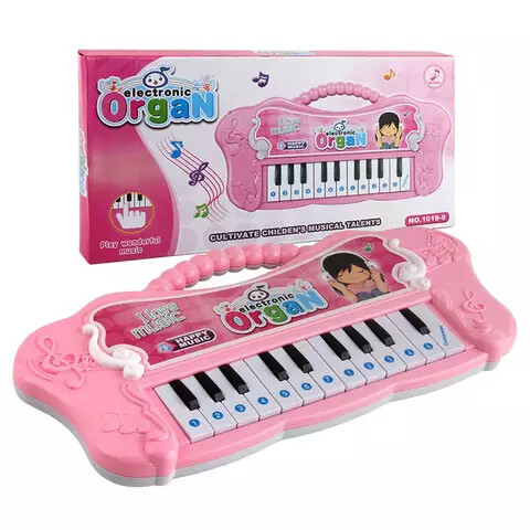Butterfly pattern plastic mini kids piano keyboard - Pink