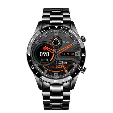 1.3 inch high-definition round screen Lige-M8 smartwatch - Metal Black