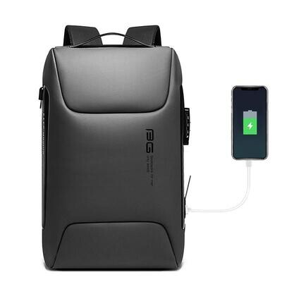 USB Backpack For Laptop multifunction High Quality USB Charging Waterproof Backpack Men Gift Bag- Gray