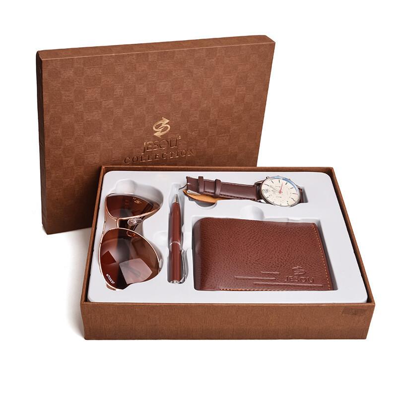 Business Gift Set Fashion Sunglasses Quartz Watch Multi Card Wallet