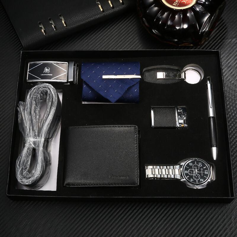 Modern Business Men's Leather Watch Wallet Set Creative Handmade Gift Box