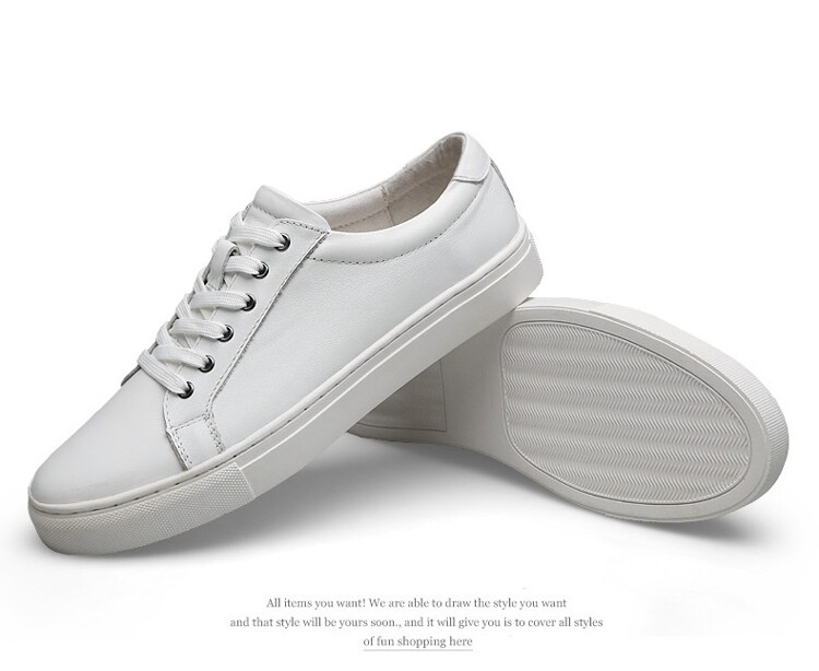 Genuine Cow Leather Sneakers - White
