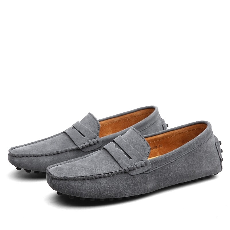 Men Casual Leather Suede Loafers - Gray