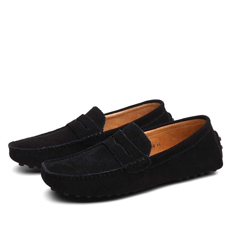 Men Casual Leather Suede Loafers - Black