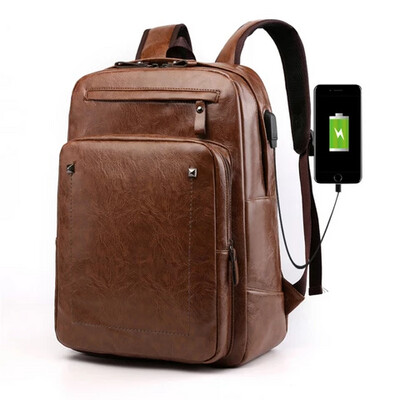 Leather laptop backpack with usb - Light brown