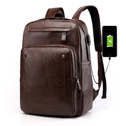 Leather laptop backpack with usb - Dark brown