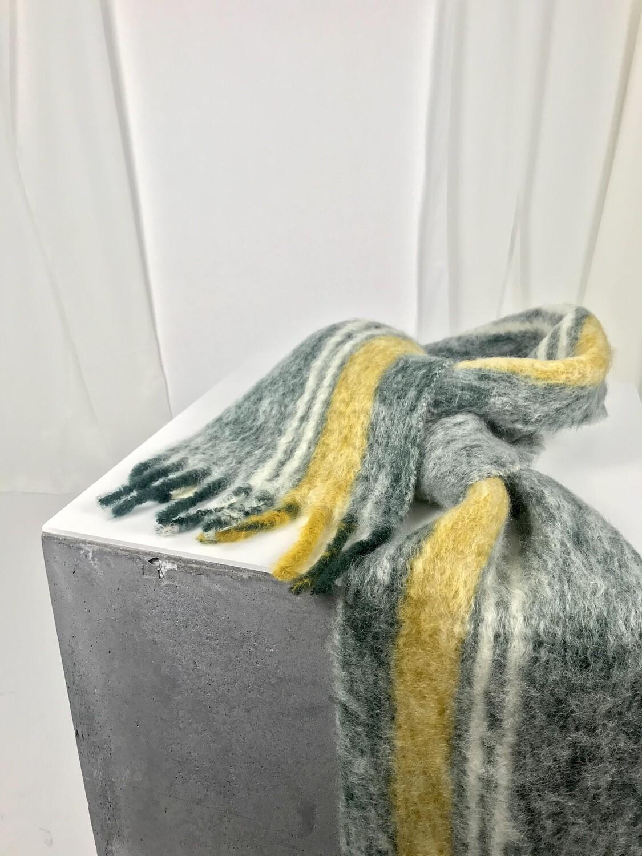 Schal dunkelgrün senf weiss