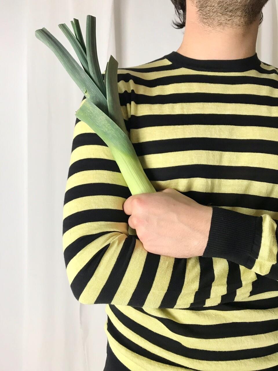 Streifenpullover lime black