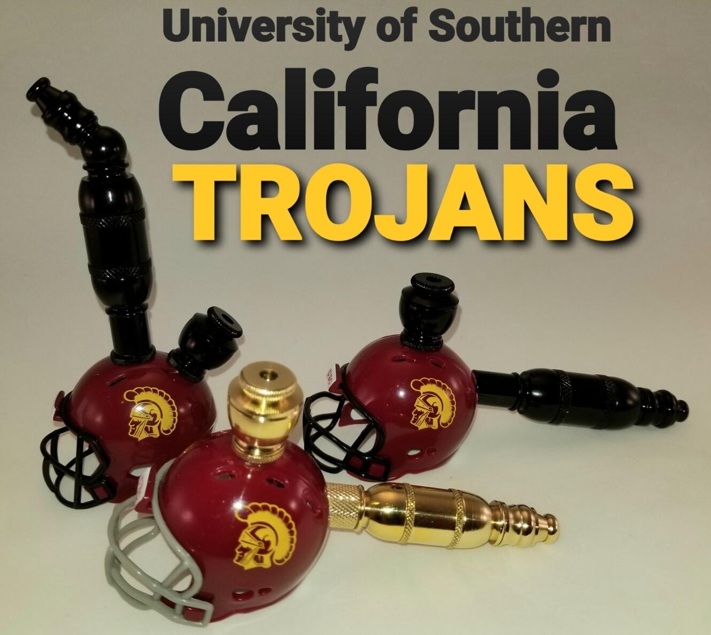 USC TROJANS STRAIGHT FOOTBALL HELMET SMOKING PIPE Brass