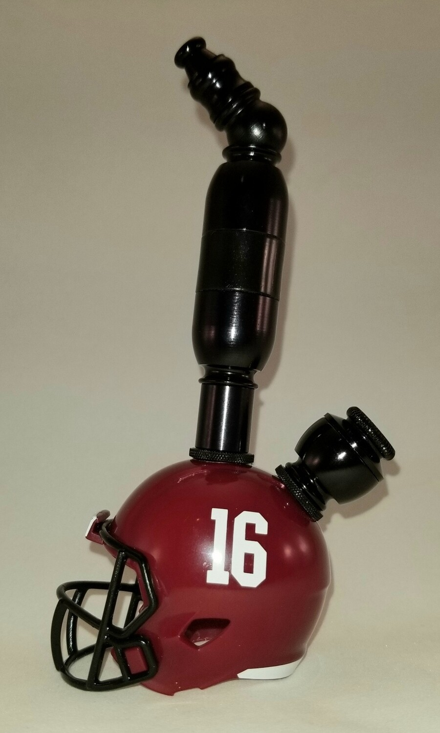 "#16 ALABAMA CRIMSON TIDE ""BAD ASS"" FOOTBALL HELMET SMOKING PIPE Upright/Black Anodized"