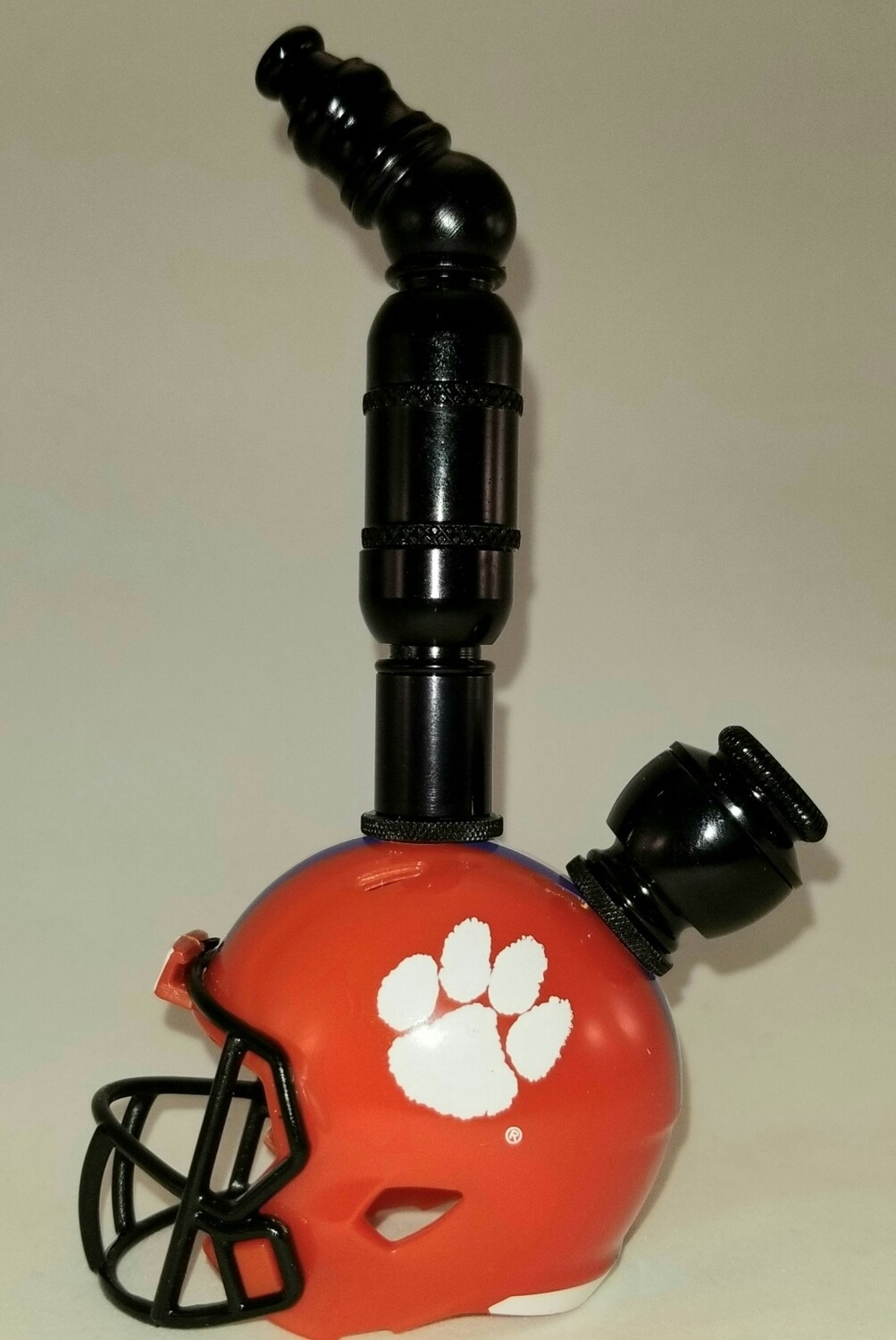 "CLEMSON TIGERS ""BAD ASS"" FOOTBALL HELMET SMOKING PIPE Upright/Black Anodized"