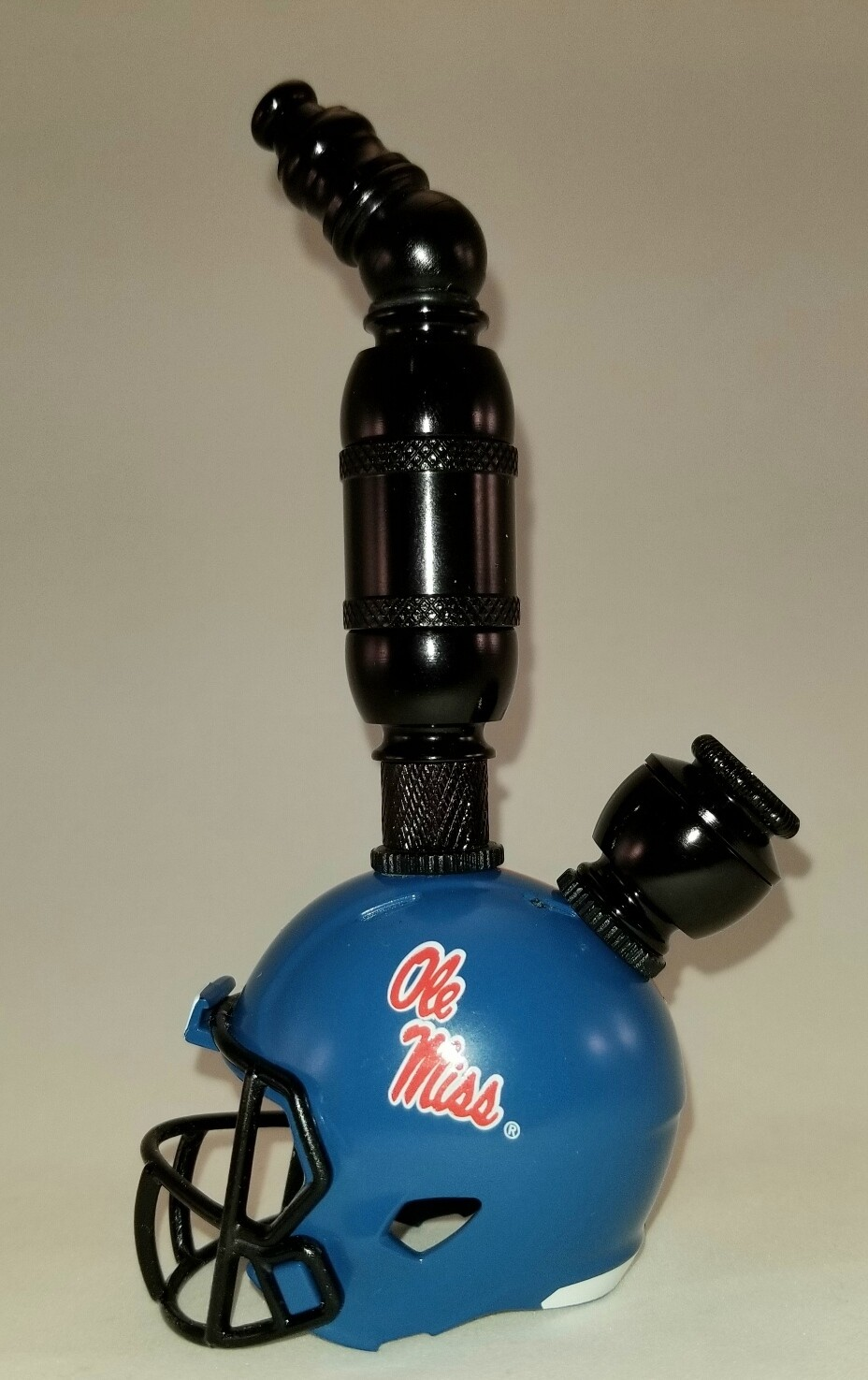 "OLE MISS REBELS ""BAD ASS"" FOOTBALL HELMET SMOKING PIPE Upright/Black Anodized/Blue"