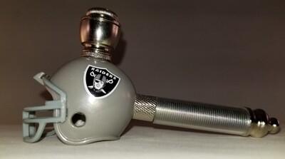 LAS VEGAS RAIDERS NFL FOOTBALL HELMET SMOKING PIPE Long Stem/Nickel/Clear
