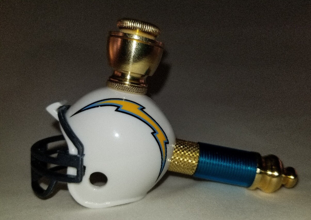 LOS ANGELES CHARGERS FOOTBALL HELMET SMOKING PIPE Mini/Brass