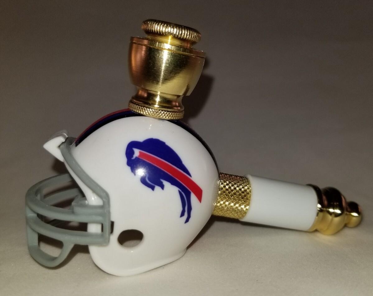 BUFFALO BILLS NFL FOOTBALL HELMET SMOKING PIPE Mini/Brass/White