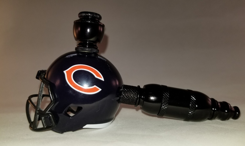 "CHICAGO BEARS ""BAD ASS"" NFL FOOTBALL HELMET SMOKING PIPE Straight/Black Anodized"