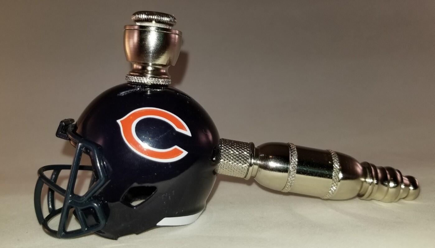 CHICAGO BEARS NFL FOOTBALL HELMET SMOKING PIPE Straight/Nickel