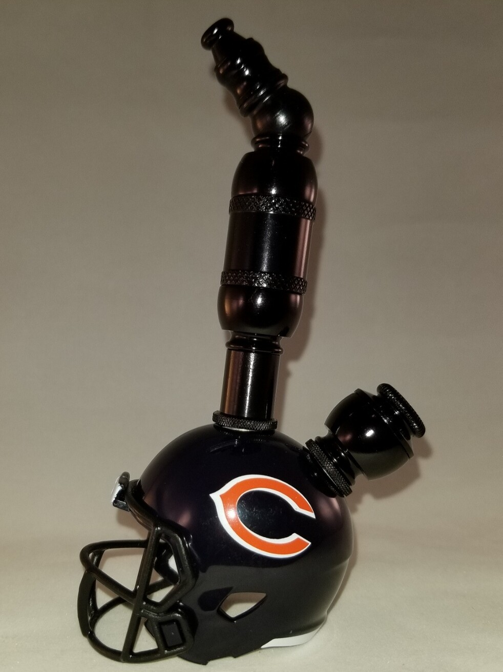 """CHICAGO BEARS """"BAD ASS"""" NFL FOOTBALL HELMET SMOKING PIPE Upright/Black Anodized"""
