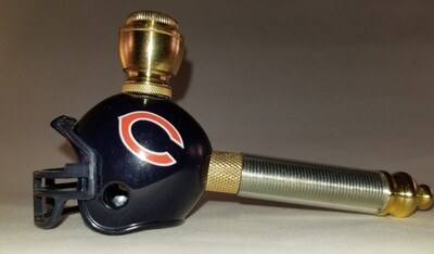 CHICAGO BEARS NFL FOOTBALL HELMET SMOKING PIPE Long Stem/Mini/Brass/Clear