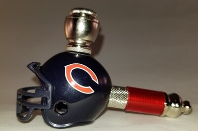 CHICAGO BEARS NFL FOOTBALL HELMET SMOKING PIPE Mini/Nickel/Red