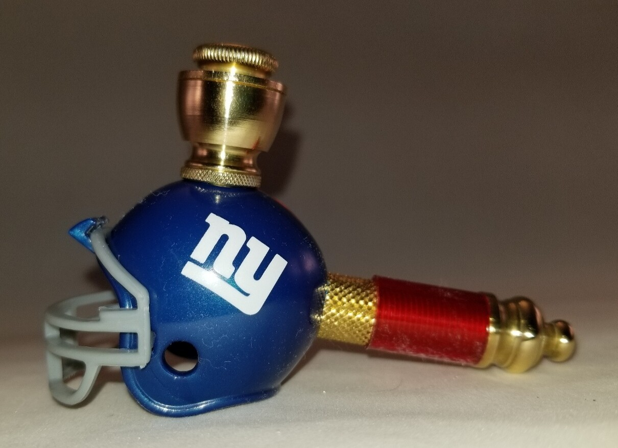 NEW YORK GIANTS NFL FOOTBALL HELMET SMOKING PIPE Mini/Brass